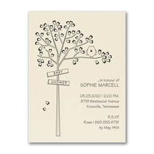 Heart Tree - Baby Shower Invitation - Ecru
