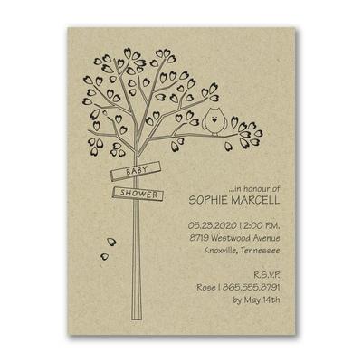 Heart Tree - Baby Shower Invitation - Kraft