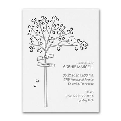 Heart Tree - Baby Shower Invitation - White