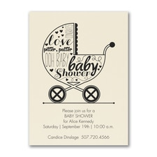 Baby Buggy Shower - Baby Shower Invitation - Ecru