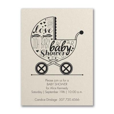 Baby buggy shower baby shower invitation ecru shimmer baby baby buggy shower baby shower invitation ecru shimmer filmwisefo