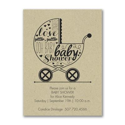 Baby Buggy Shower - Baby Shower Invitation - Kraft