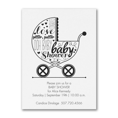 Baby Buggy Shower - Baby Shower Invitation - White
