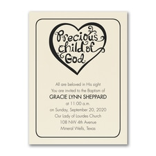 Baptism Heart - Baptism Invitation - Ecru