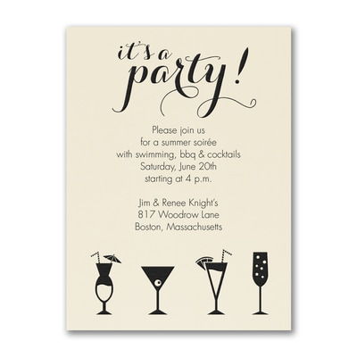 It's a Cocktail Party - Party Invitation - Ecru