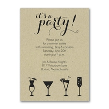 It's a Cocktail Party - Party Invitation - Kraft