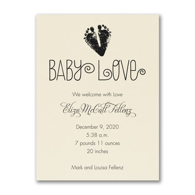 Baby Love Footprints - Birth Announcement - Ecru