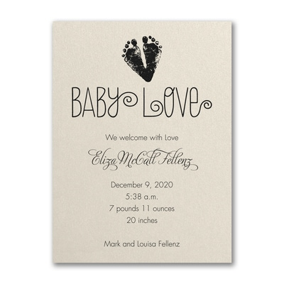 Baby Love Footprints - Birth Announcement - Ecru Shimmer