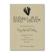 Baby Love Footprints - Birth Announcement - Kraft