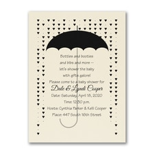 Baby Hearts - Shower Invitation - Ecru