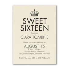Sweet Sixteen - Birthday Invitation - Ecru