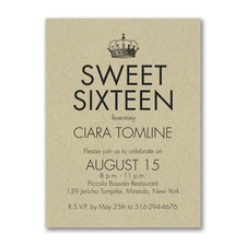 Sweet Sixteen - Birthday Invitation - Kraft