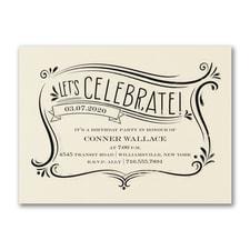 Let's Celebrate - Party Invitation - Ecru