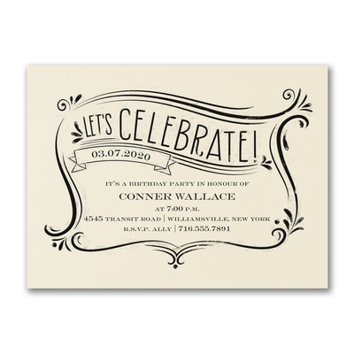 Let's Celebrate - Party Invitation - Ecru