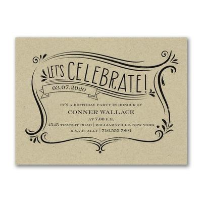 Let's Celebrate - Party Invitation - Kraft