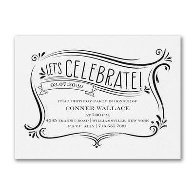 Let's Celebrate - Party Invitation - White