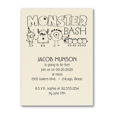 Birthday Monster Bash - Birthday Invitation - Ecru