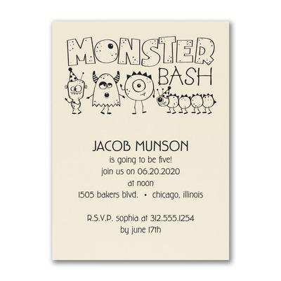 Birthday Monster Bash - Birthday Invitation - Ecru