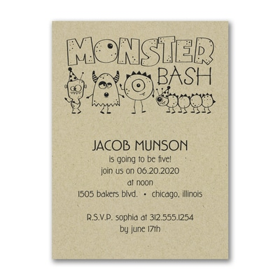 Birthday Monster Bash - Birthday Invitation - Kraft