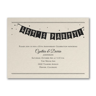 Let's Party Banner - Party Invitation Ecru Shimmer