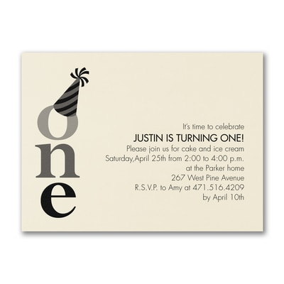 One - Birthday Invitation - Ecru