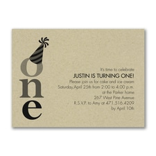 One - Birthday Invitation - Kraft