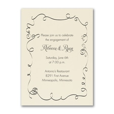 Swirl Border - Party Invitation - Ecru