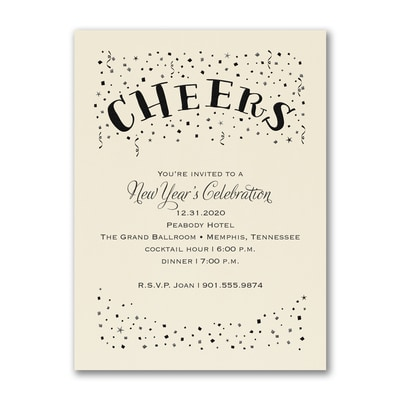 Confetti Cheers - Party Invitation - Ecru