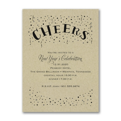 Confetti Cheers - Party Invitation - Kraft