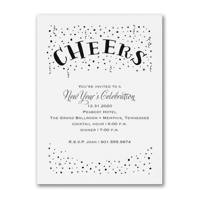 Confetti Cheers - Party Invitation - White