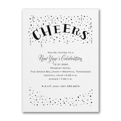 Confetti Cheers - Party Invitation - White Shimmer
