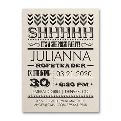 It's a Surprise Party - Birthday Invitation - Ecru Shimmer