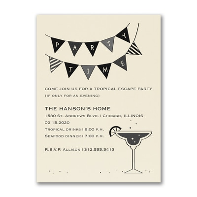 Margarita Glass - Party Invitation - Ecru