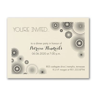 Star Bursts - Party Invitation - Ecru