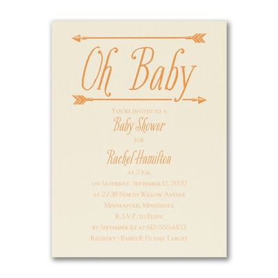 Baby's Here - Birth Announcement - Ecru