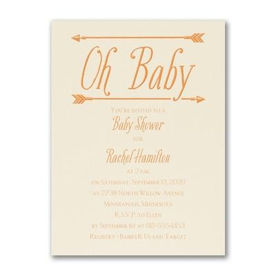 Baby's Here - Birth Announcement - Ecru