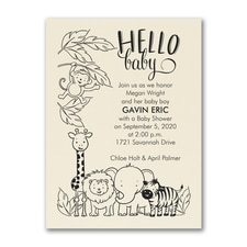 Jungle Baby - Baby Shower Invitation - Ecru