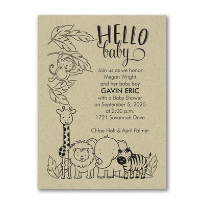 Jungle baby baby shower invitation kraft shop all baby the jungle baby baby shower invitation kraft filmwisefo