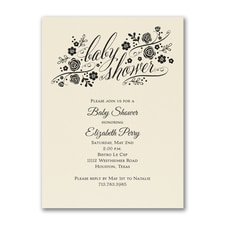 Little Rosebuds - Baby Shower Invitation - Ecru