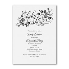 Little Rosebuds - Baby Shower Invitation - White