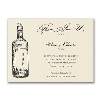 Fine Wine - Party Invitation - Ecru