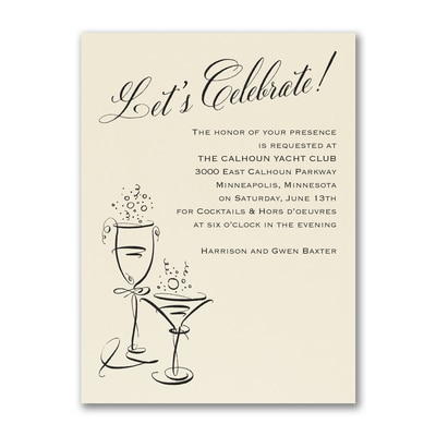 Bubbly Celebration - Party Invitation - Ecru