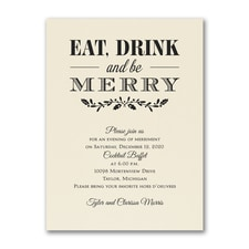 Eat Drink Merry - Party Invitation - Ecru