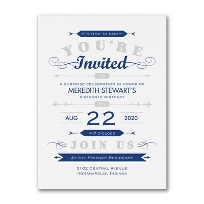 Type and Stripes - Party Invitation
