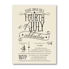 Patriotic Type - Party Invitation - Ecru