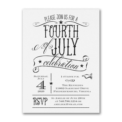Patriotic Type - Party Invitation - White