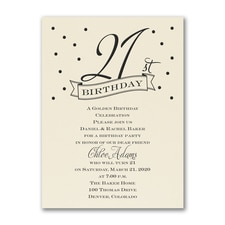 21st Confetti - Birthday Invitation - Ecru