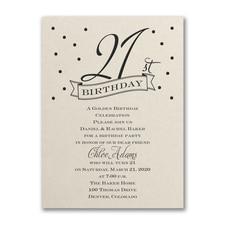 21st Confetti - Birthday Invitation - Ecru Shimmer