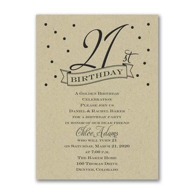 21st Confetti - Birthday Invitation - Kraft