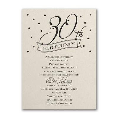 30th confetti birthday invitation ecru shimmer shop all